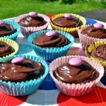 Easy Chocolate Cupcakes on a serving platter.