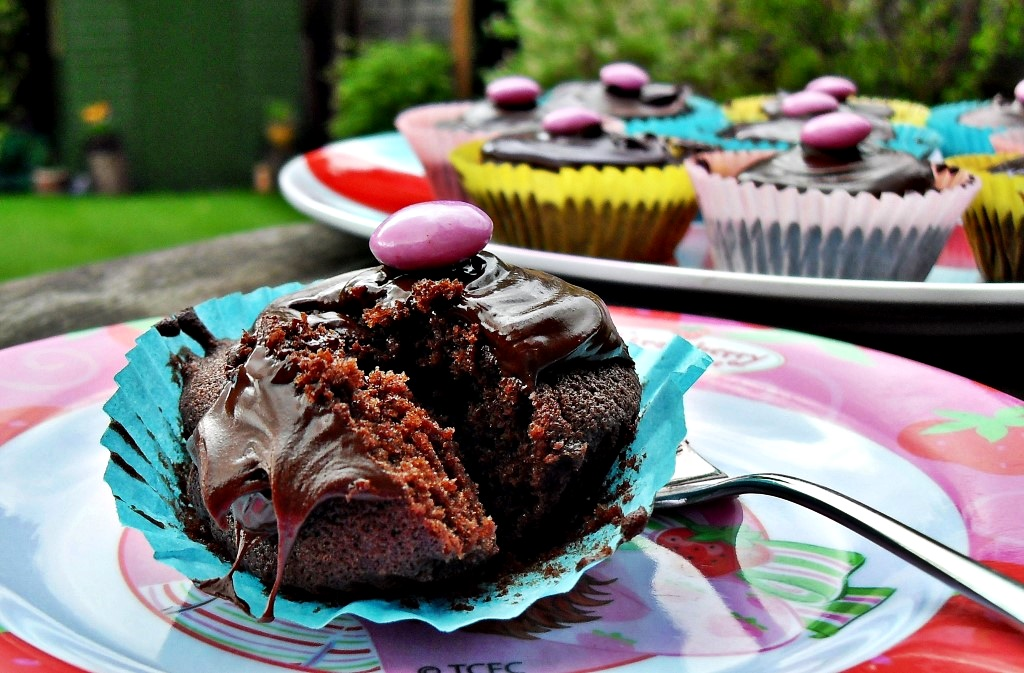 Easy Chocolate Cupcake on a plate with fork.