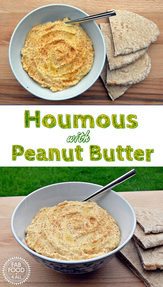 Houmous with Peanut Butter - great for when you don't have any tahini paste! Fab Food 4 All #houmous #hummus