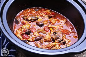 Slow Cooked Chicken Italian in a crock pot.