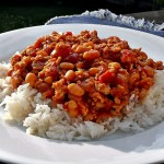Turkey Chilli with Baked Beans on a bed of rice.
