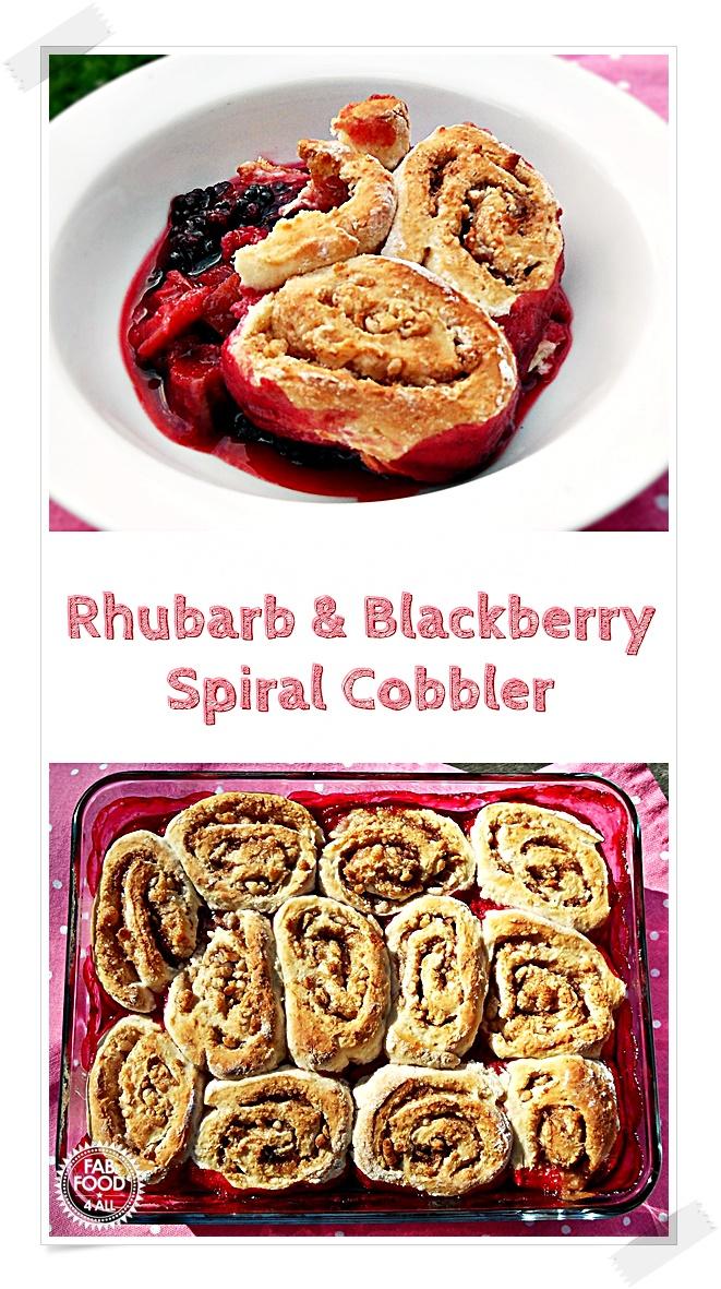 Rhubarb & Blackberry Spiral Cobbler Pin image