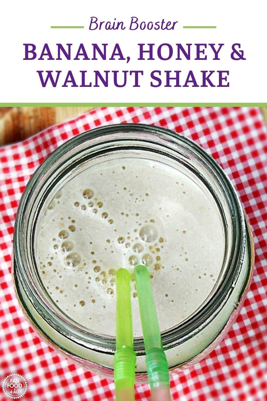 Banana, Honey & Walnut Shake Pinterest image.