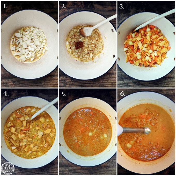 Step by step shots of how to make vegetarian and gluten free Curried Pumpkin Soup.