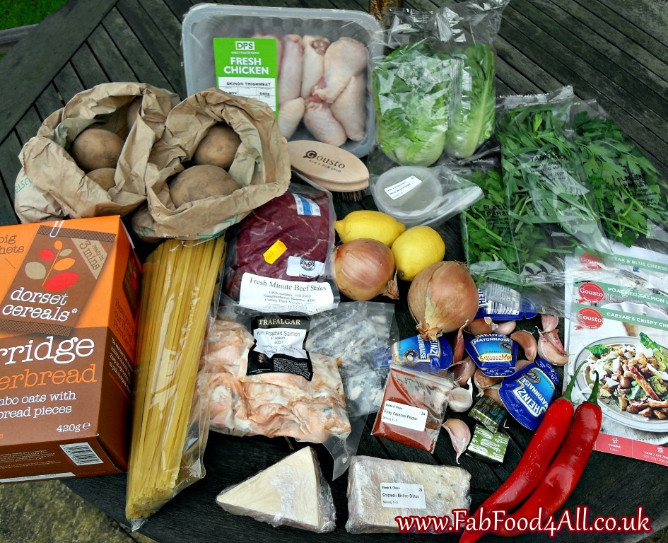 Gousto Meal Kit, organic vegetables, farm assured British Meat, cheese, chicken, herbs, salmon