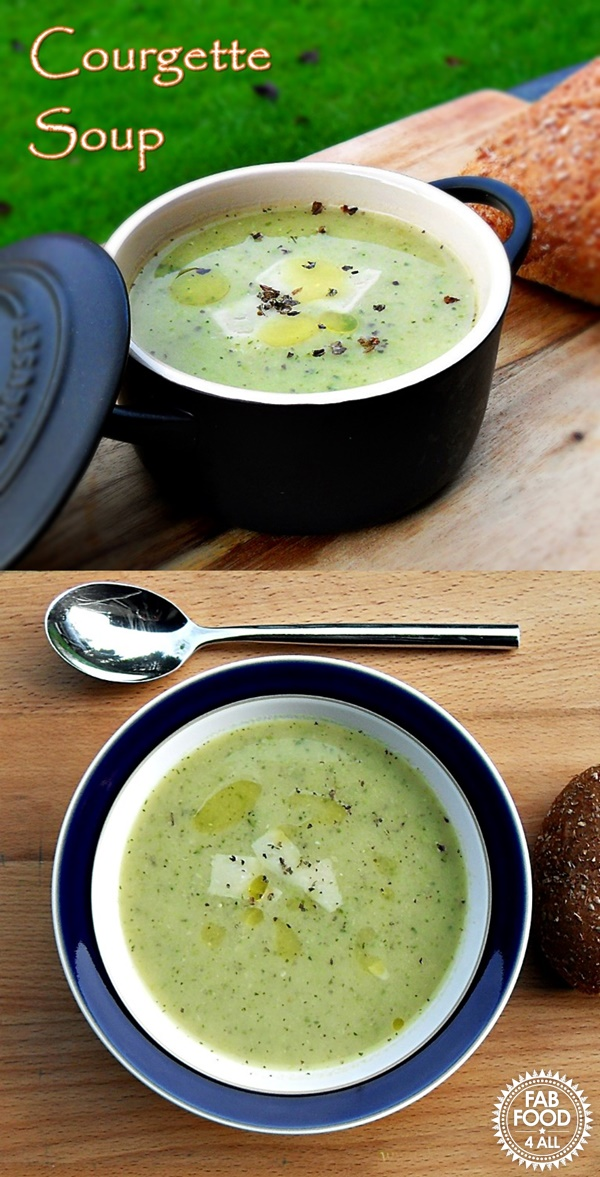 Courgette Soup - simple, frugal broth flavoured with garlic, basil & hard cheese! Fab Food 4 All #soup #broth #vegetarian #courgette #basil