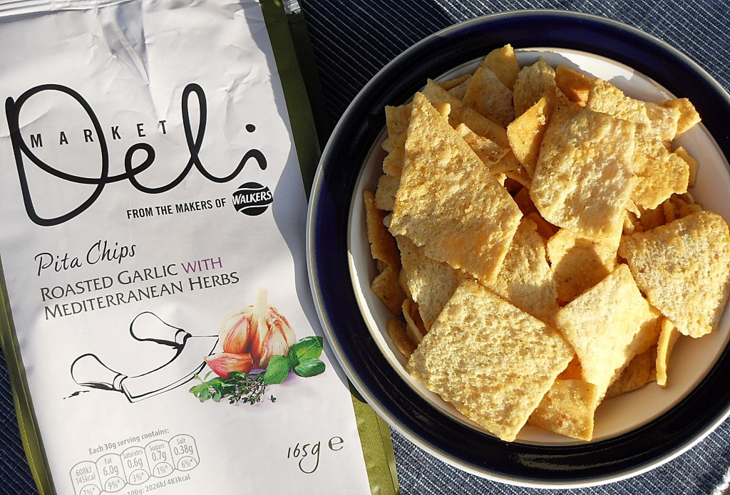 Walkers Market Deli Pita Chips, Roasted Garlic with Mediterranean Herbs, crisps, snacks, adult