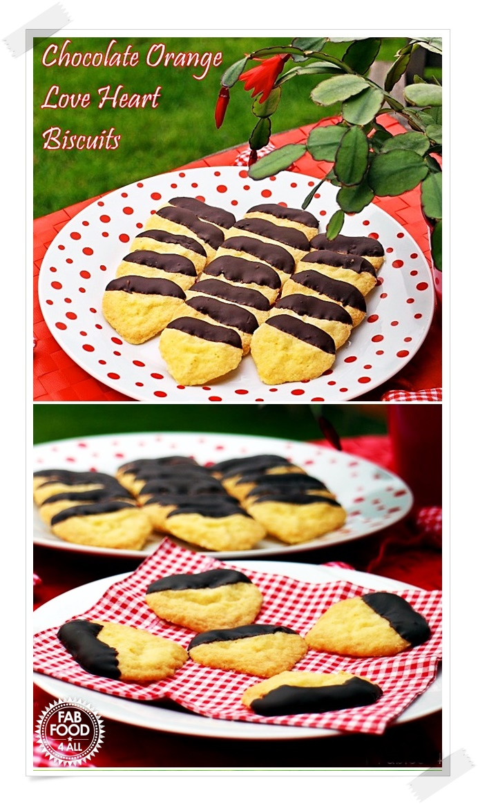 Chocolate Orange Love Heart Biscuits - delicious on their own or great with ice cream! Treat your beloved on Valentine's Day! #ValentinesDay #biscuitrecipes #cookierecipes #chocolate #orange #ValentinesDayRecipes