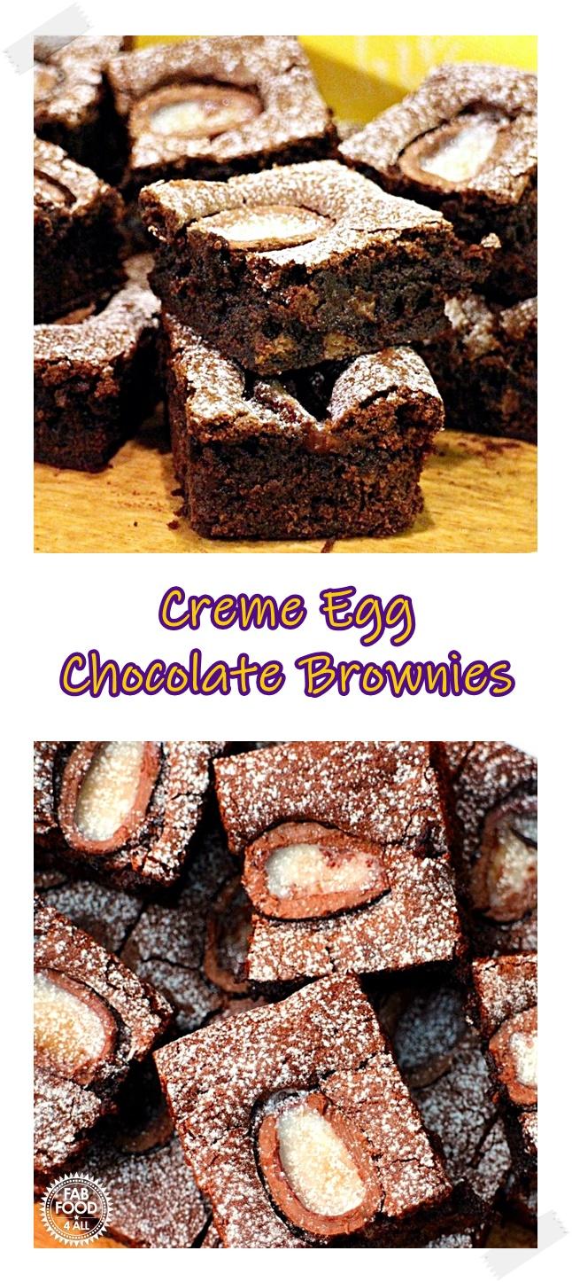 Creme Egg Chocolate Brownies Pinterest image.