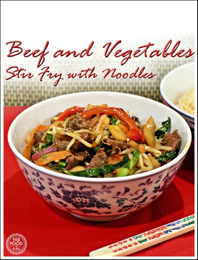 Beef & Vegetables Stir Fry with Noodles in a bowl Pinterest image.