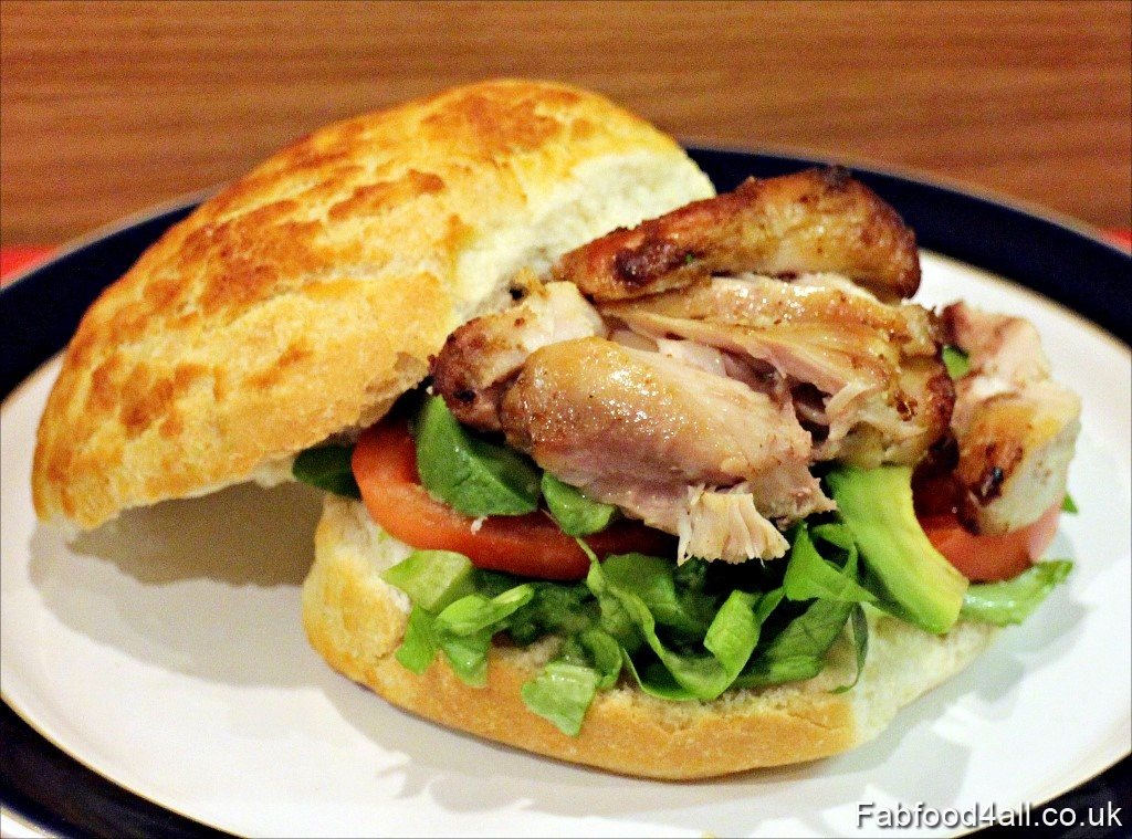 ActiFry Chicken Thighs, chicken in a bun, salad, cheap, quick, easy, dinner, recipe