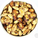 Spiced Almonds in a bowl aerial view.