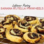 Leftover Pastry Banana Nutella Pinwheels on a wire rack with title graphic.