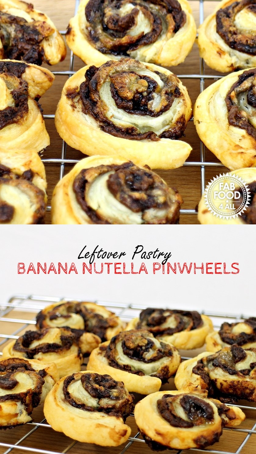 Leftover Pastry Banana Nutella Pinwheels - Fab Food 4 All