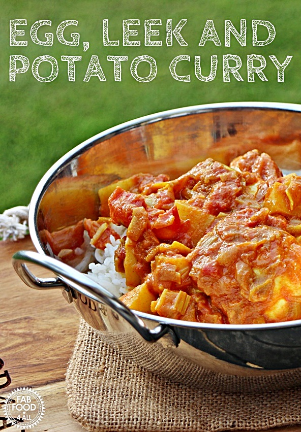 Egg, Leek and Potato Curry in a bowl - Pinterest image.