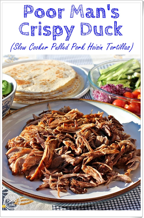 Poor Man's Crispy Duck (Pulled Hoisin Pork with tortillas & salad).