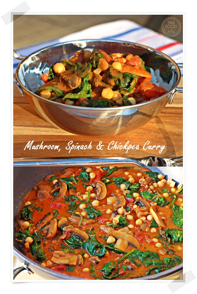 Vegan Mushroom, Spinach & Chickpea Curry - Fab Food 4 All #curry #mushroom #spinach #chickpea #vegan #vegetarian
