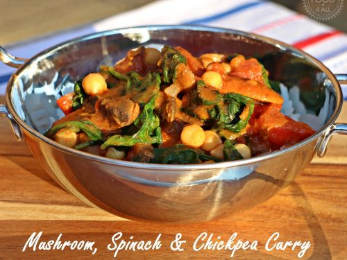 Mushroom Spinach Chickpea Curry