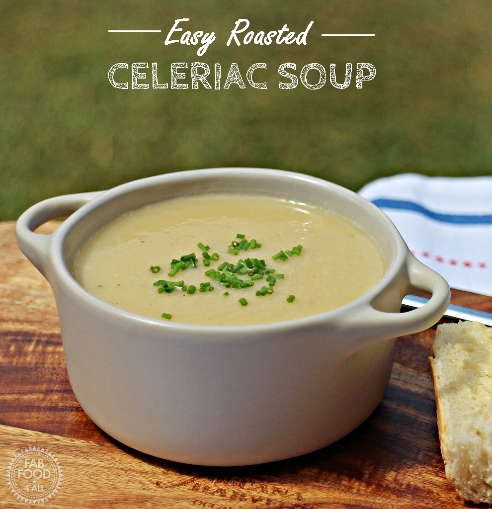 Easy Roasted Celeriac Soup in a bowl on a board.