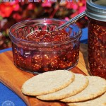 Fig Jam in jar and dish with crackers.