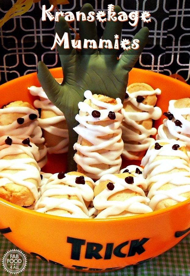 Kransekage Mummies in a Halloween bowl.