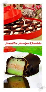 Neapolitan Marzipan Chocolates in red heart box & cut in 2 to reveal stripes. Pin image.