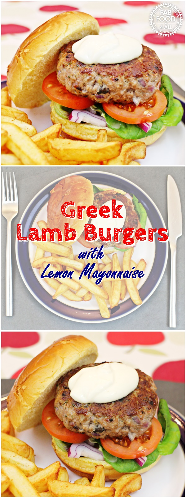 Greek Lamb Burgers with Lemon Mayonnaise, so quick, easy and delicious! #lamb #lambrecipes #mincedlamb #mincedlambrecipes #burgerrecipes #lambburgers #GreekRecipes #Greek