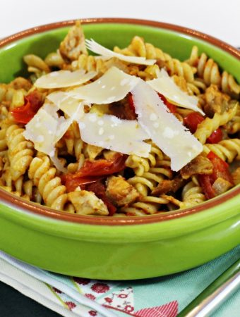Quick Leftover Pork Pesto Pasta - Fab Food 4 All