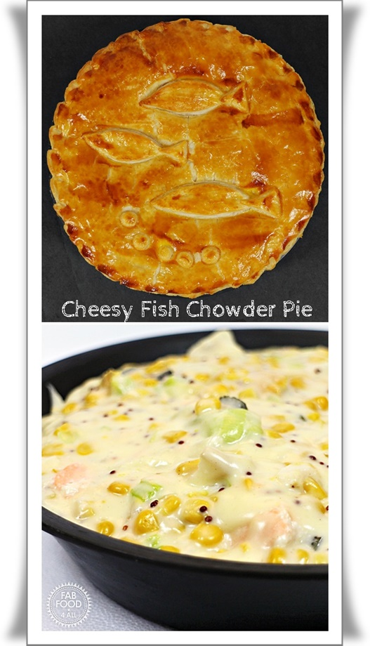 Cheesy Fish Chowder Pie a delicious combination of smoked and natural cod, salmon, sweetcorn, leek and cornichons in a cheese sauce. #FishPie #FishRecipes #Pie #PuffPastryPie #Fish #Cheese #CheeseSauce #SmokedCod #Cod #Salmon #Sweetcorn #Leek #Cornichons #ChowderRecipes