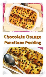Chocolate Orange Panettone Pudding - a delicious way to use up leftover Panetonne! #puddingreicpes #Panetonne #pudding #dessert #leftoverpanetonne #Christmasrecipes #chocolate #chocolateorange
