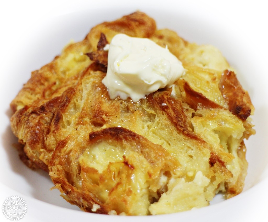 Golden Syrup & Clotted Cream Croissant Pudding - Fab Food 4 All
