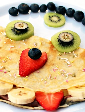 Monster Panccakes -with kiwi, blueberry, strawberry & banana faces.