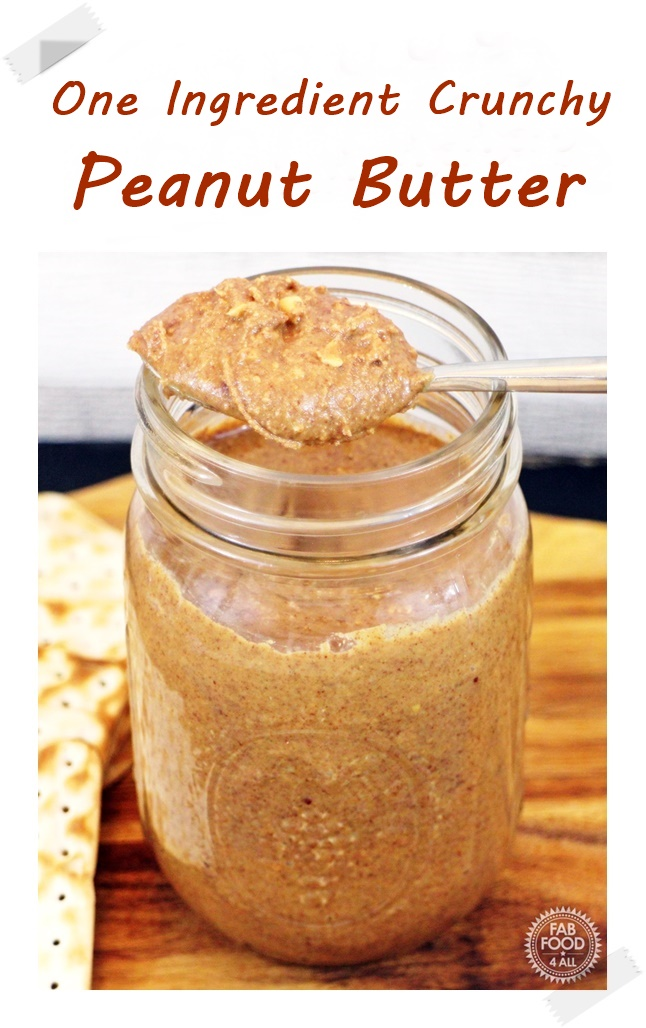 One Ingredient Crunch Peanut Butter with crackers -Pinterest image
