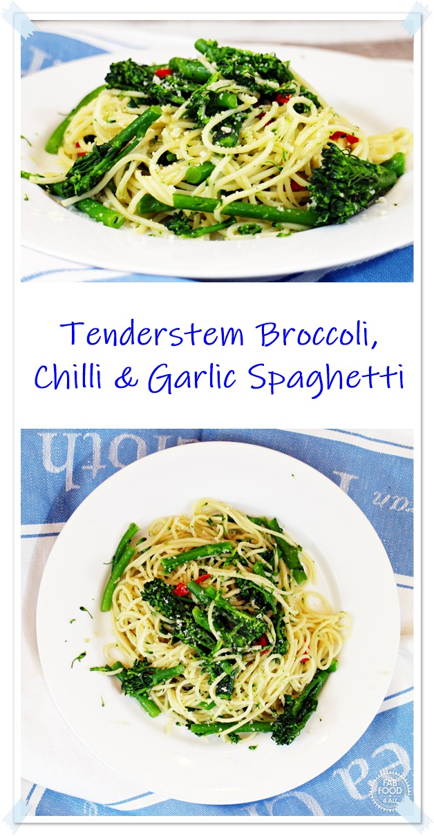 Tenderstem Broccoli, Chilli and Garlic Spaghetti Pinterest montage.