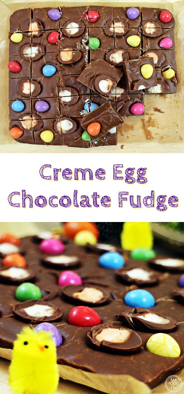 Creme Egg Chocolate Fudge Pinterest image.