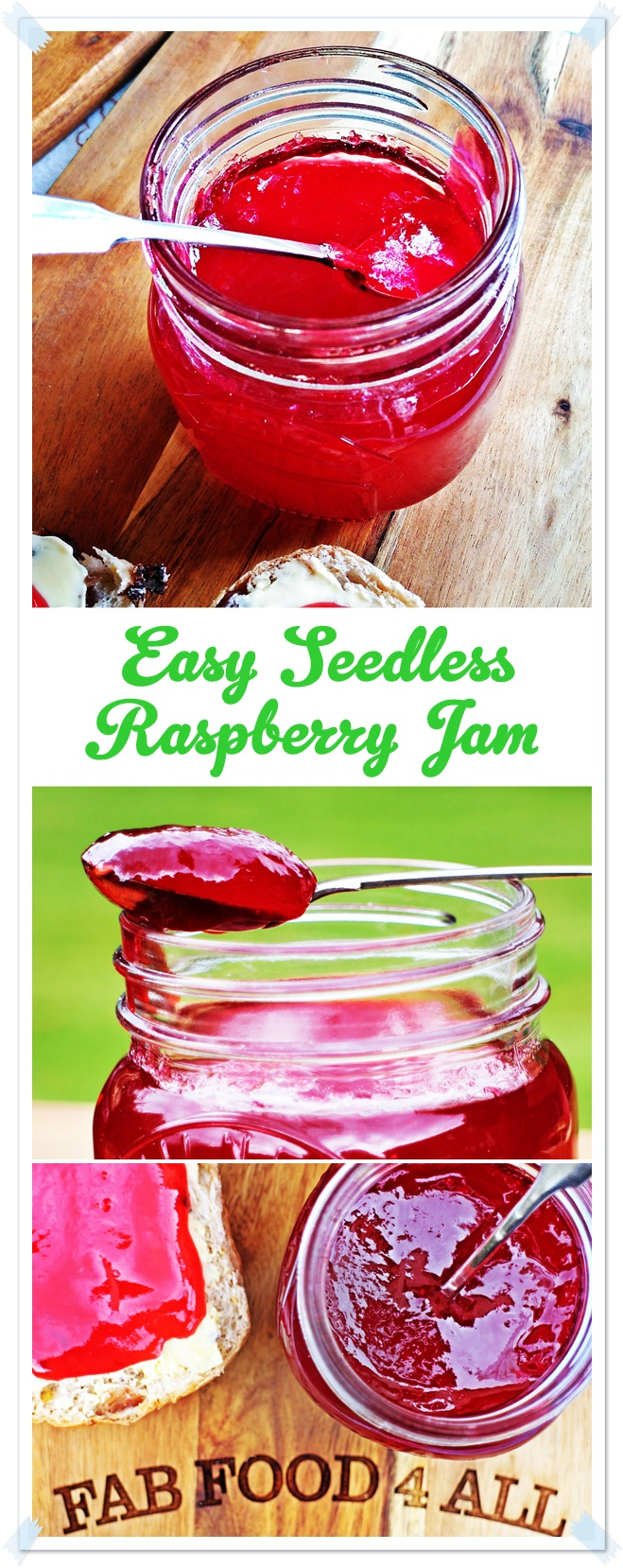 Easy Seedless Raspberry Jam - Fab Food 4 All