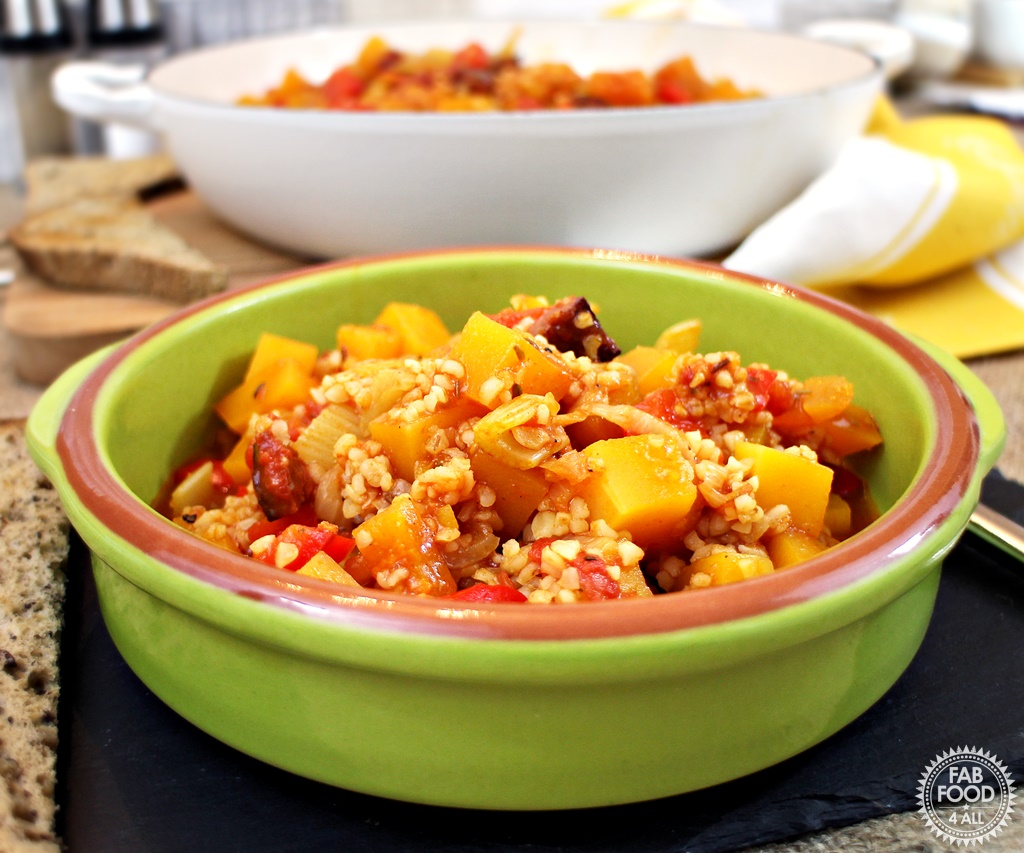 One Pot Butternut Squash and Chorizo Casserole - Fab Food 4 All
