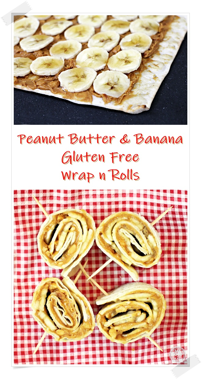 Peanut Butter and Banana Wrap n Rolls Pinterest image.