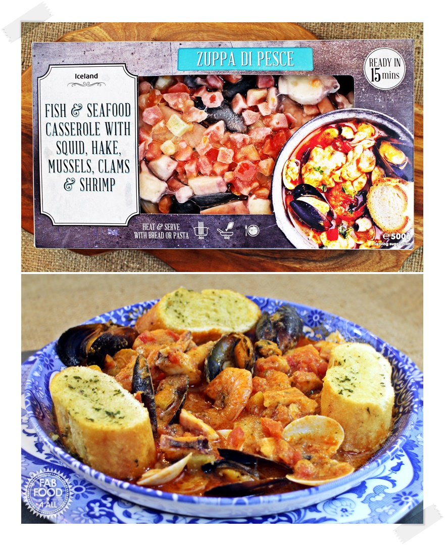 Fish & Seafood Casserole with Squid, Hake, Mussels, Clams & Shrimp