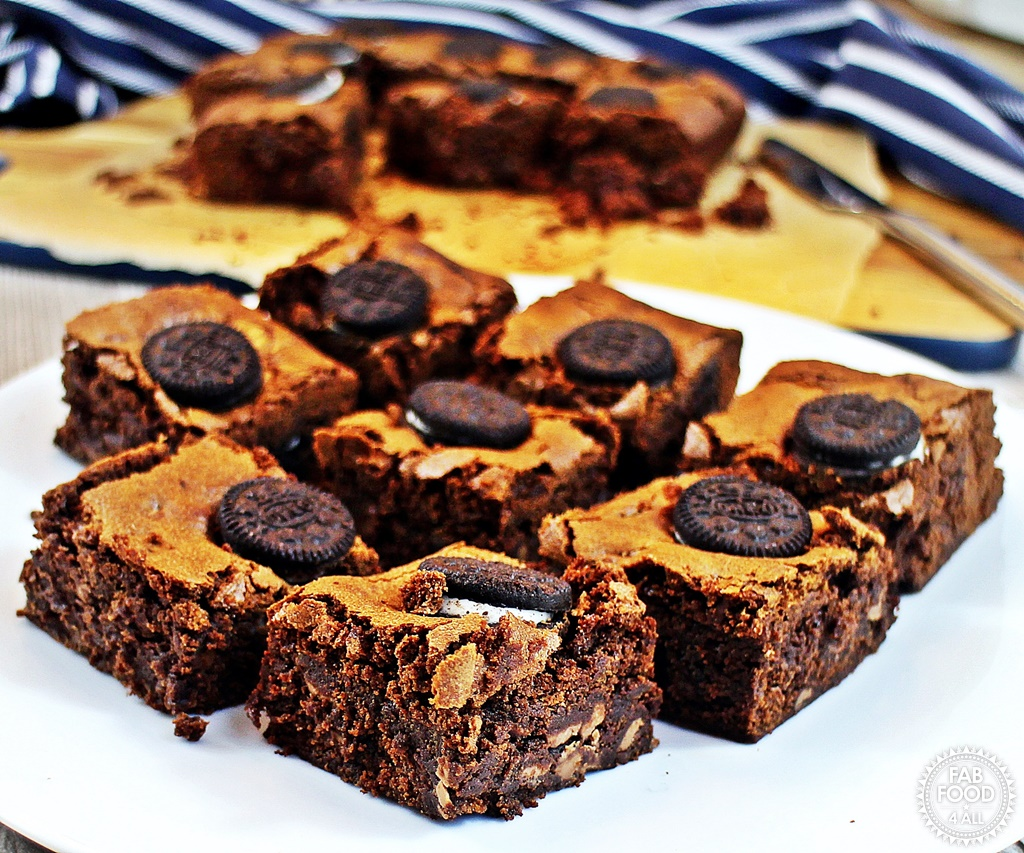Oreo Brownies cut up on a platter.