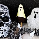 Chocolate Pear Ghost with spooky backdrop of skull & ghost.