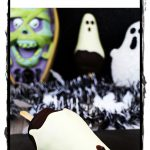 Chocolate Pear Ghosts with spooky backdrop. Pinterest image.