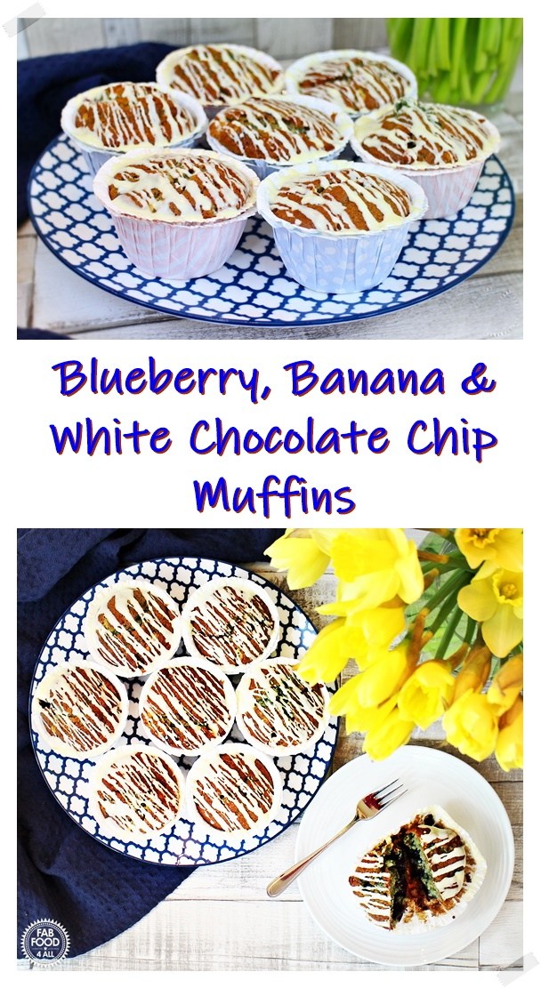 Blueberry, Banana & White Chocolate Muffins on a serving dish and daffodils - Pinterest image.
