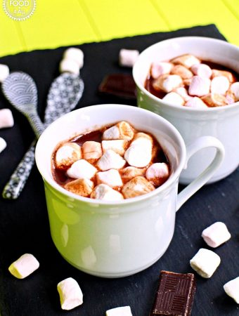 Boozy Decadent Hot Chocolate with Baileys Chocolat Luxe & Marshamallows, espresso cups