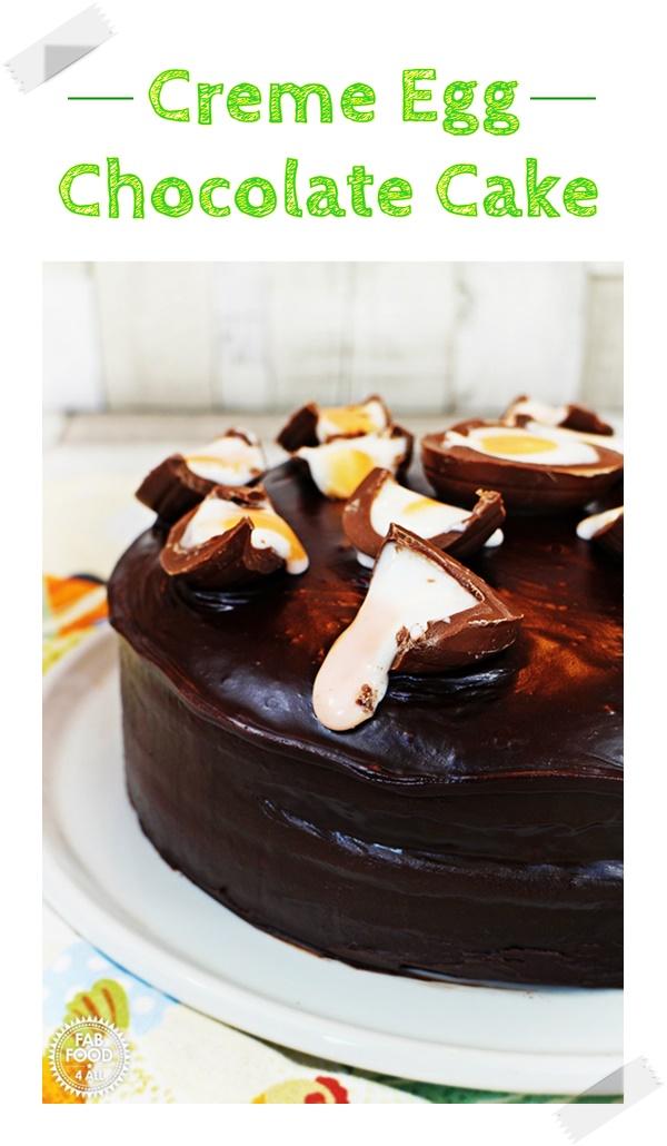 Creme Egg Chocolate Cake, so moist & delicious! #CremeEgg #CremeEggRecipes #CremeEggCake #Cake #ChocolateCake #Easter #EasterCake #Baking