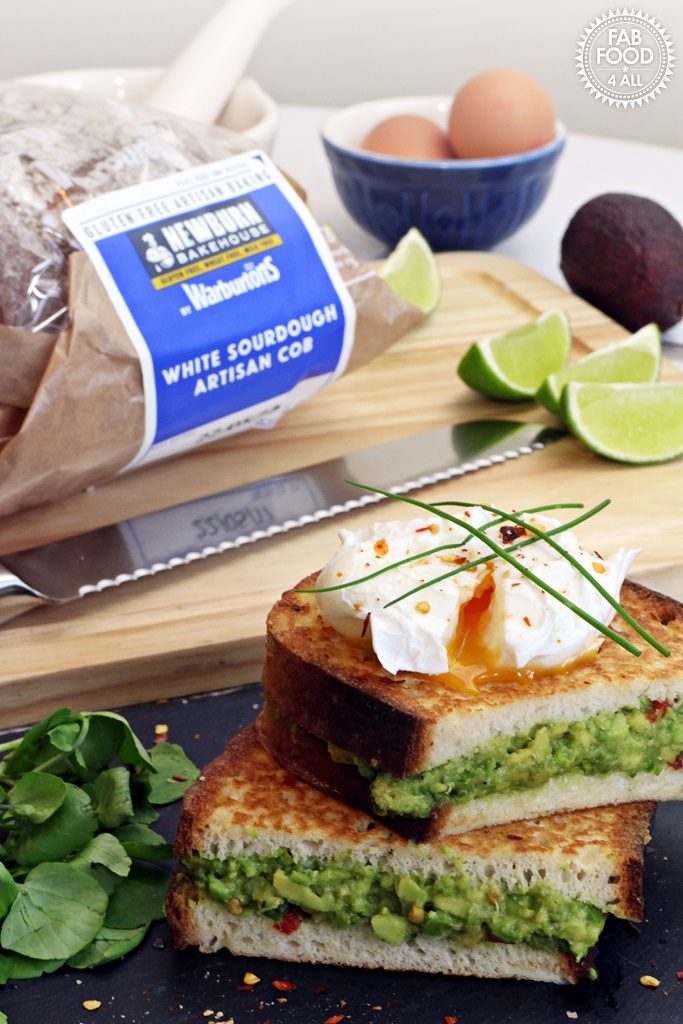 Avocado Stuffed French Toast with Poached Egg - gluten free using Newburn Bakehouse by Warburtons White Sourdough Artisan Cob @fabfood4all