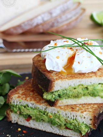 Avocado Stuffed French Toast with Poached Egg – gluten free!