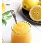Granny's Quick Lemon Curd in a Weck jar with teaspoon. Pinterest image.