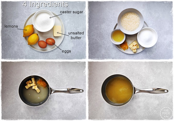Granny's Quick Lemon Curd step by step photo montage. First steps.