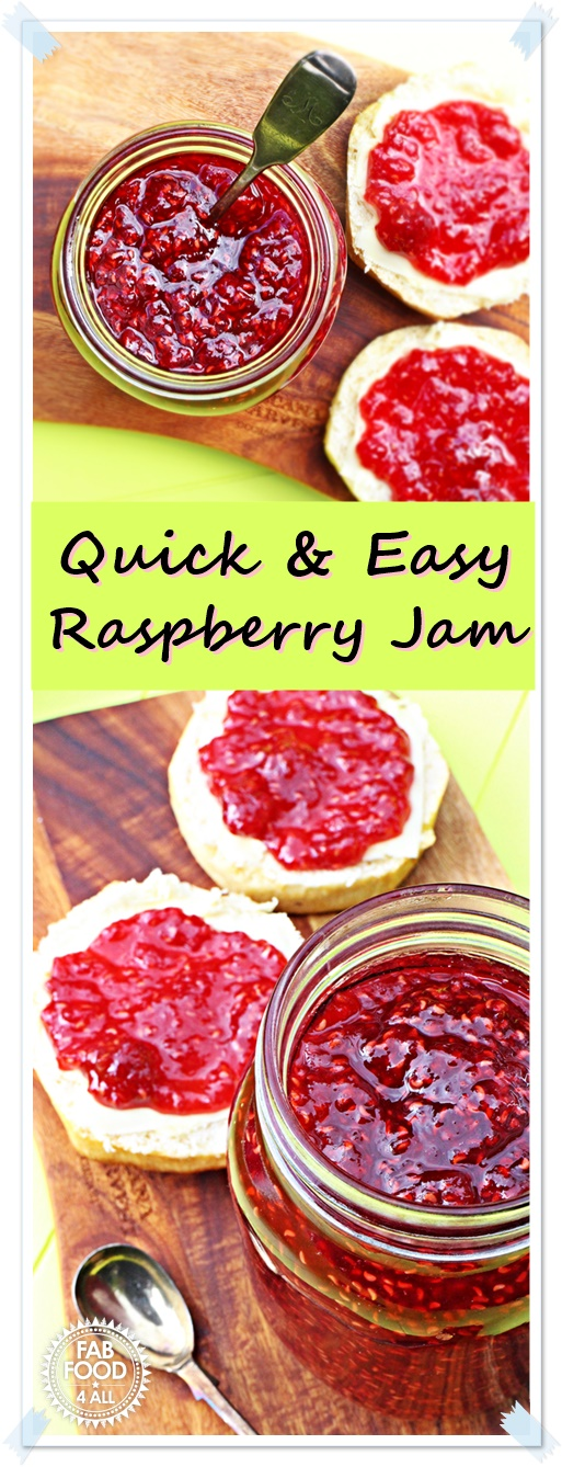 Quick & Easy Raspberry Jam - no pectin! @FabFood4All